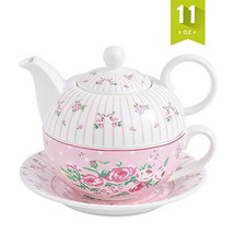 Malacasa Tea For One Porcelain Teapot 11 oz and Cup Set, 6.7 inch Teapot... - £17.46 GBP