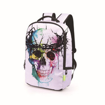 chain skull paint personality leisure polyester student school bag - $494,58 MXN