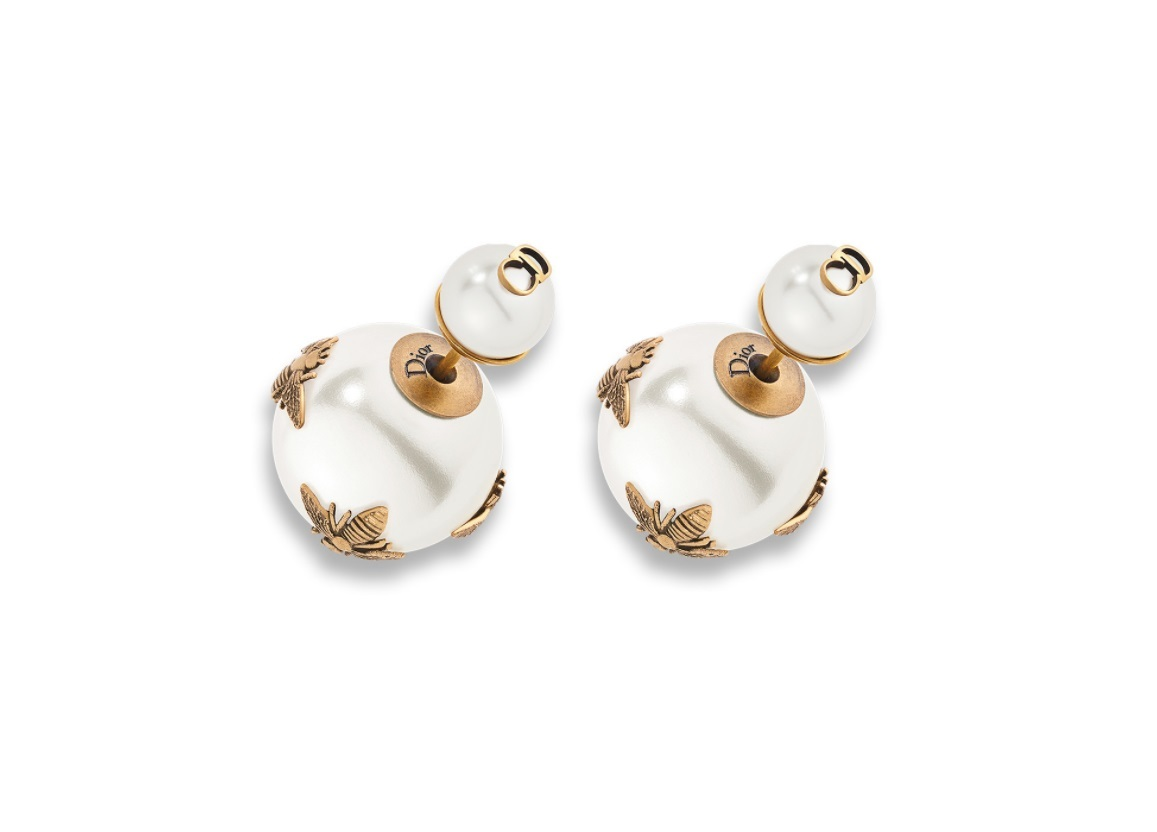 Authentic Christian Dior 2017 AGED GOLDTONE TRIBALES  Bee Double Pearl EARRINGS