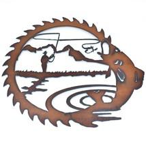 "Rustic Rusted Patina Iron Metal Cutout Saw Fly Fishing Design 12"" Wall Decor image 2"