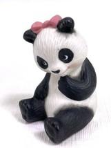 """Avon 1990 Vintage Collectible Porcelain Ceramic Panda Girl Pink Bow 2.75"""" - $4.89"""