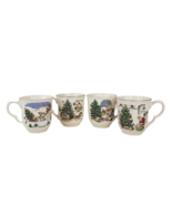 Vintage Nikko Happy Holidays Coffee Cups 4 Different Christmas Santa Des... - $25.00