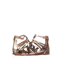 Steve Madden Delta Flat Gladiator Sandals 743, Gold Metallic, 5.5 US - $23.99