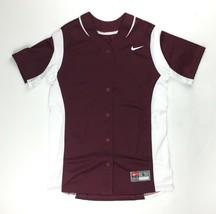Nike Vapor Full-Button Softball Performance Jersey Women's Large Maroon ... - $19.30