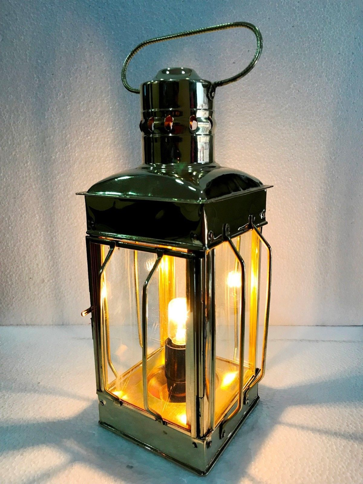 "Primary image for 12"" Electric Vintage Stable Gold Brass Lantern Lamp Wall Hanging Home Decor"