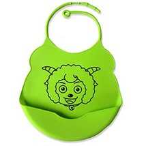 2 Pcs Green Comfortable and Durable Cartoon Silicone Baby Bibs Pocket Meals image 2