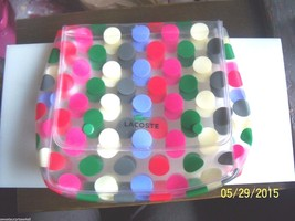 Lacoste Alligator Vinyl Case color polka dots waterproof snap closure ka... - $24.75