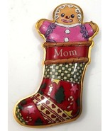 Hallmark Keepsake Christmas Ornament Mom Gingerbread Stocking 1999 Press... - $9.95