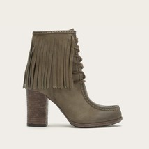 New Womens 5.5 Frye Suede Leather Boots Short Fringe Gray Brown Lace Up ... - $86.00