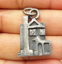 925 Sterling Silver - Vintage Petite Oxidized House Designed Pendant - P... - $43.19
