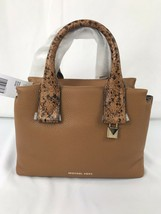 Michael Kors Rollins Small Snake-Embossed Leather Satchel Purse Acorn NWT $328 - $131.75