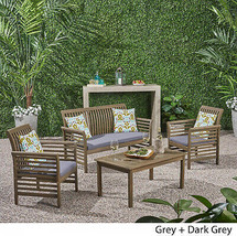 Desmond Outdoor 4-piece Acacia Wood Chat Set With Cushions By Christoph... - $642.20