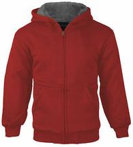 Boys Fleece Sherpa LinedZip Up Hoodie Kids Red Sweater Jacket w/ Defect M