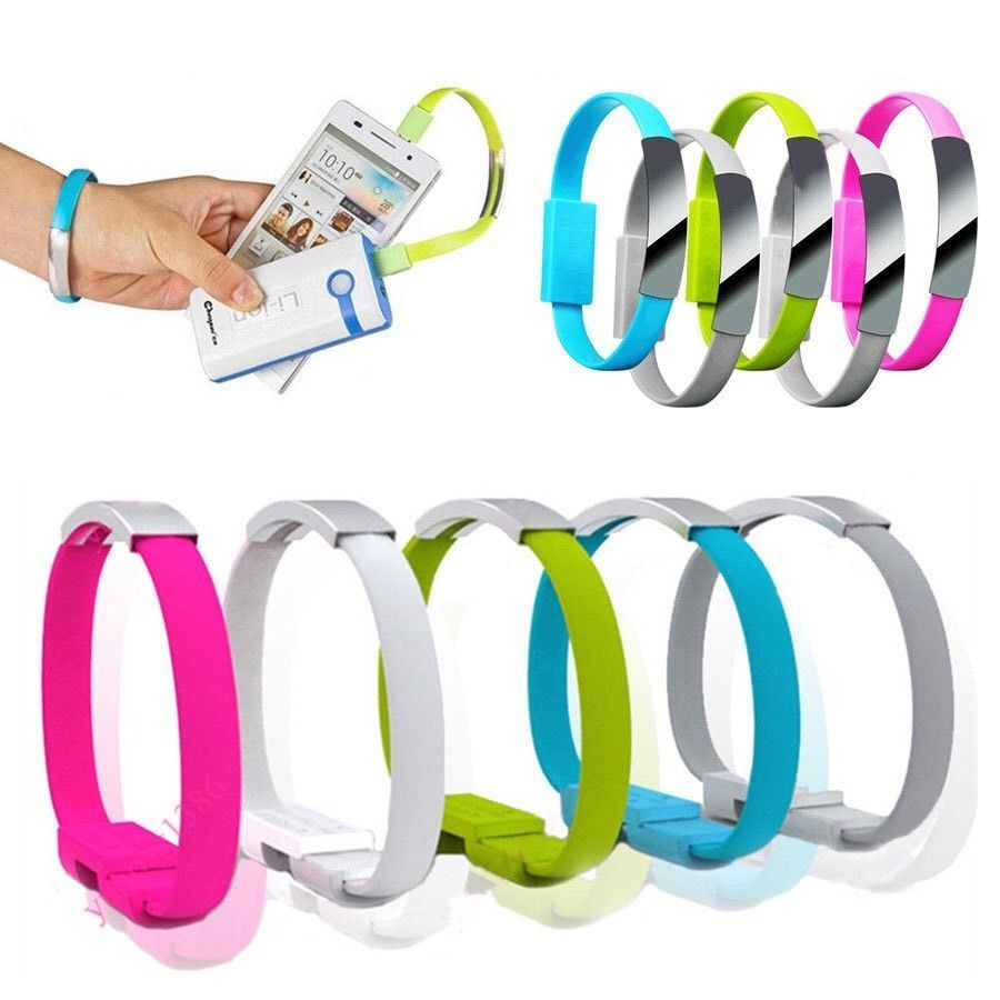 Micro USB To USB Cable Bracelet Data Sync Cord To Samsung Android Lime Green AB5