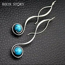 925 Sterling Silver Vintage Turquoise Dangle Drop Earrings Fine Silver [... - $14.96