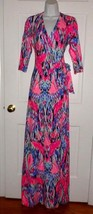 NWT LILLY PULITZER MULTI FREE SPIRIT MARVISTA WRAP MAXI DRESS L - $178.19