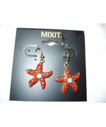 Women's Mixit Gold Tone Earrings Red & Blue Beaded Dangle Star Fish  NEW - $14.84