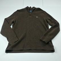Polo Ralph Lauren Mens 1/4 Zip Jacket M Medium Brown Solid Pullover Pony... - $32.68