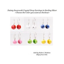 Dainty Swarovski Crystal Drop Earrings in Sterling Silver - $6.92