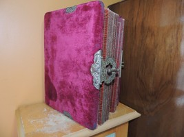 Antique Victorian Easel Photo Album red Mohair 1894 working clasp Empty ... - $59.99