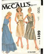 McCalls Pattern #6611 Size 6-8 Petite Vintage Sundress Pullover Tie Stra... - $10.88