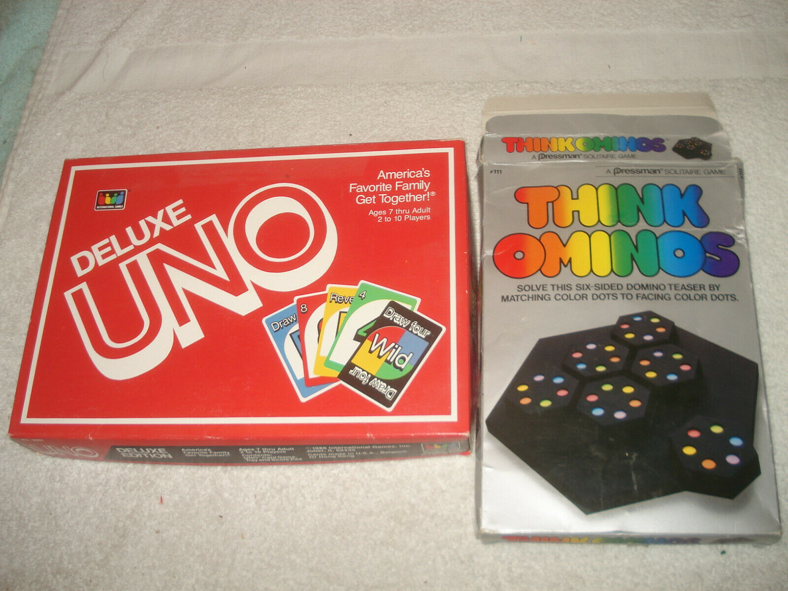 Vintage 184 Think Ominos 1986 UNO Deluxe game lot complete - $12.86