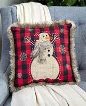 "14"" Faux Fur Trimmed Plaid Pillows - Snowman"
