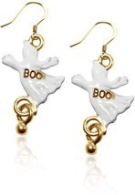 Gold over Silver Ghost Charm Earrings Halloween Women Jewelry Fashion Da... - €34,09 EUR