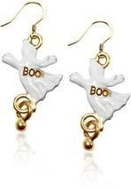 Gold over Silver Ghost Charm Earrings Halloween Women Jewelry Fashion Da... - €35,58 EUR