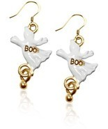 Gold over Silver Ghost Charm Earrings Halloween Women Jewelry Fashion Da... - €35,69 EUR