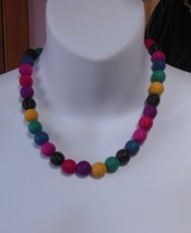 Vintage Multi-Color Grooved Plastic Colorful Bead Necklace  - $34.65