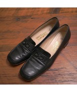 FERRAGAMO Logo Made in Italy Black Leather Comfort Loafers Dress Flats 8AA 38.5 - $79.99