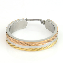 Chic Polished Tri-Color Silver, Gold & Rose Tone Hoop Earrings- United Elegance image 3