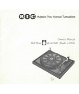 BIC British Industries Co. Belt Drive Model 940 Turntable Owners Manual ... - $9.04