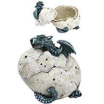 5 Inch Green Dragon Hatchling Cracked Egg Jewelry/Trinket Box Figurine - $21.78