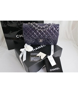 CHANEL Plum Quilted Patent Leather Classic JUMB... - $3,448.00