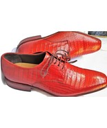 Maroon Red Crocodile Vintage Leather Shoes Oxford Derby Handmade Size US... - $279.99+