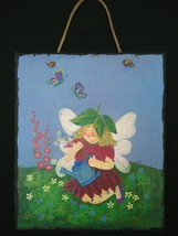 Garden Fairy Slate Wall Hanging Plaque Art Decor Evergreen Enterprises - £11.60 GBP