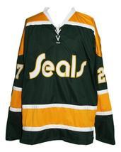Gilles Meloche #27 California Golden Seals Retro Hockey Jersey Any Size image 3