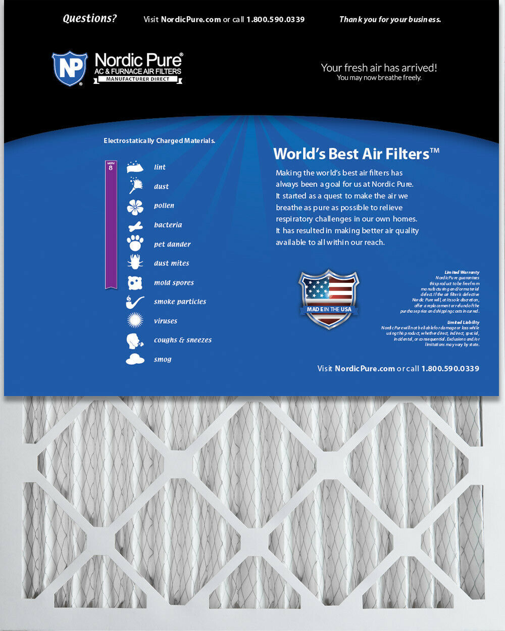 Nordic Pure 19/_1//2x23/_1//2x1 Exact MERV 8 Pleated AC Furnace Air Filters 4 Pack