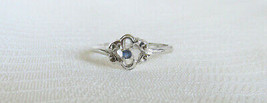 VTG Celebrity Faux Sapphire Pinky Ring Silver Plated Dainty Sweet Signed... - $13.50