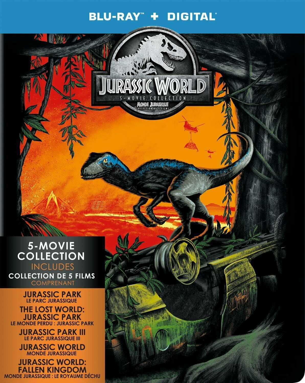 Jurassic Park 5 Movie Collection (Blu-ray/Digital, Canadian Plays in US) NEW