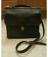 Vintage COACH Willis Blk Leather Cross Body Messenger Satchel Purse Bag ... - $75.00