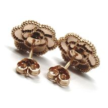 18K ROSE GOLD BOTTON FLOWER DAISY EARRINGS 14 MM, DOUBLE LAYER WORKED MIRROR image 6