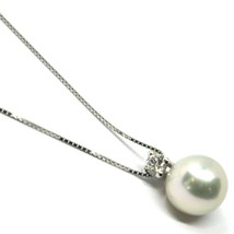 18K WHITE GOLD NECKLACE & PENDANT, SALTWATER AKOYA PEARL 8/8.5 MM, DIAMOND 0.07 image 1