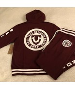 NEW TRUE RELIGION SWEATSUIT Mens Active Seal Hoodie & Sweatpant Burgundy... - $152.99