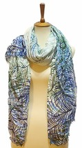 Calvin Klein Tropical Fern Cover-up & Scarf (Multi-color/ Airforce Blue) - $17.63