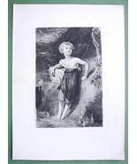 ORIGINAL ETCHING - Sacrifice Greek Children at Altar in Lystra Greece - $25.20