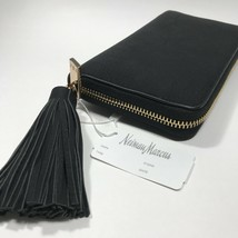 Neiman Marcus Matte Pebbled Faux Leather Zip Around Wallet With Tassel.Black - $41.95