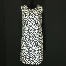 Ann Taylor LOFT 6 Med Dress White Black Shift 100% Linen Lined Washable ... - $22.95